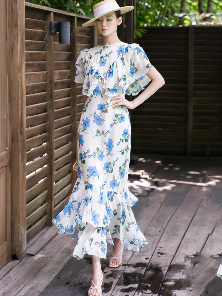D9101 Flower Printing ruffle Maxi Dress(3rd REORDER)