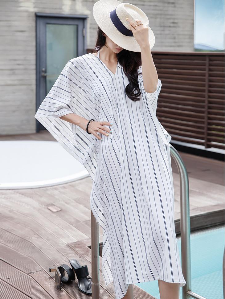 D4071 stripe wide Dress