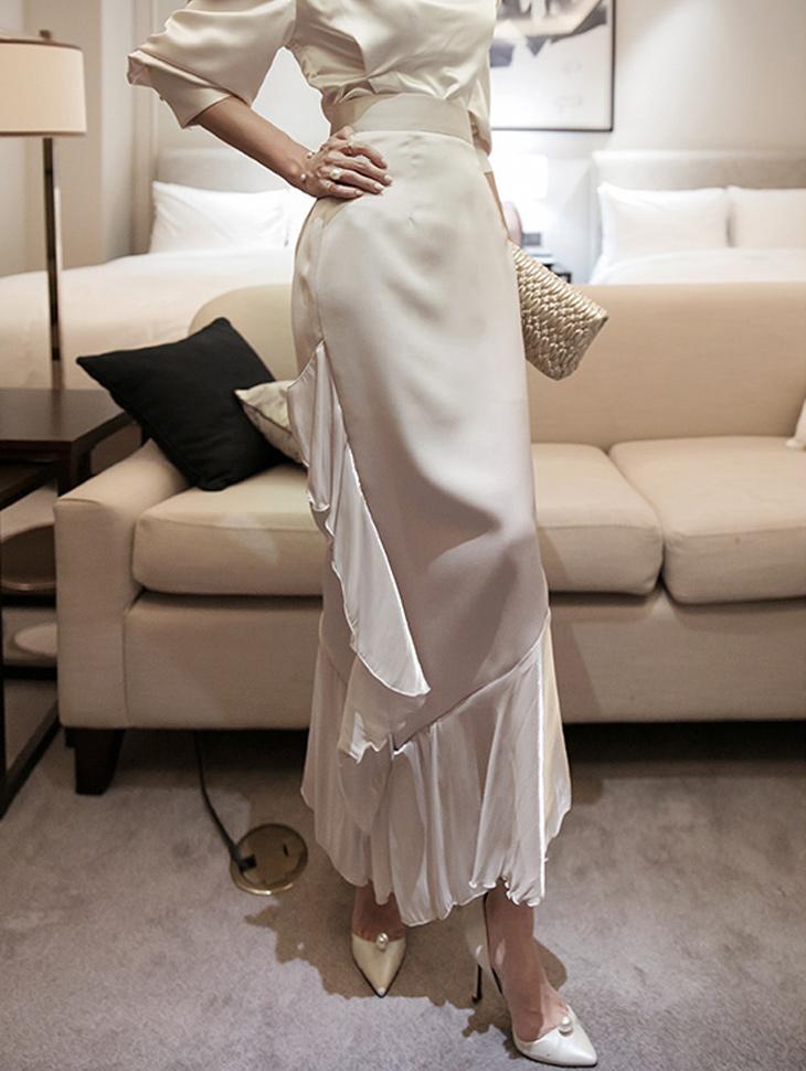 SK9082  ruffle Unbalance Long skirt(3rd REORDER)