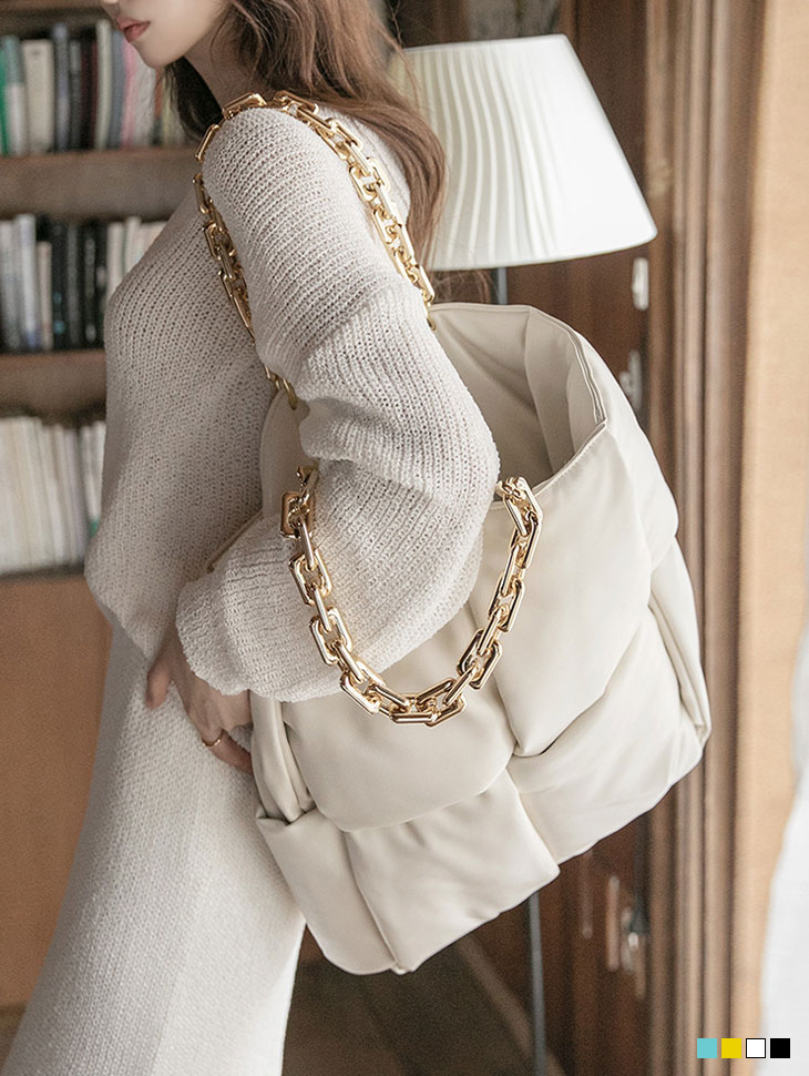 A-1187 Gold Chain Big square Bag(Pouch SET)(18th REORDER)