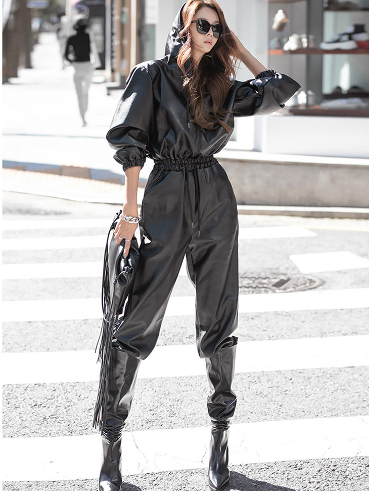 D4118 Hood Leather jumpsuit(4th REORDER)