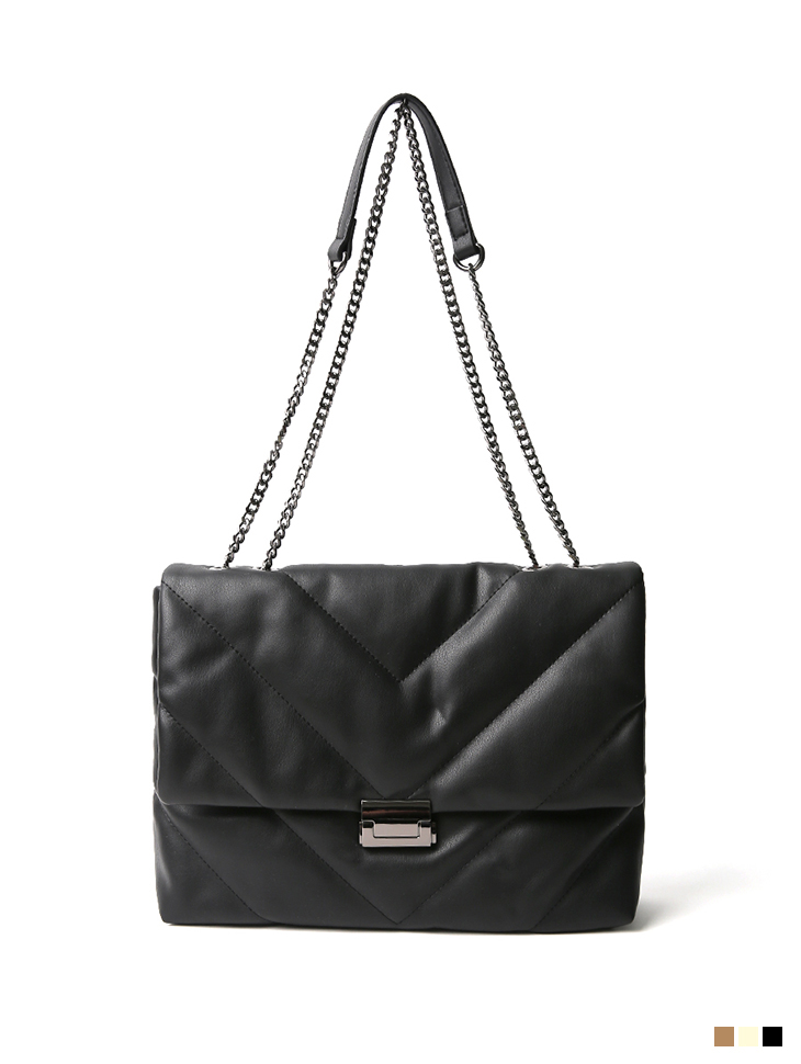 A-1216 Chain Leather Quilting bag