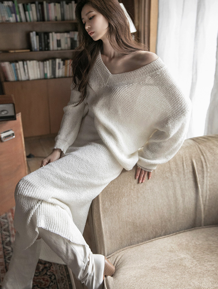 D4115 V-neck two way knit skirt two-piece(26th REORDER)