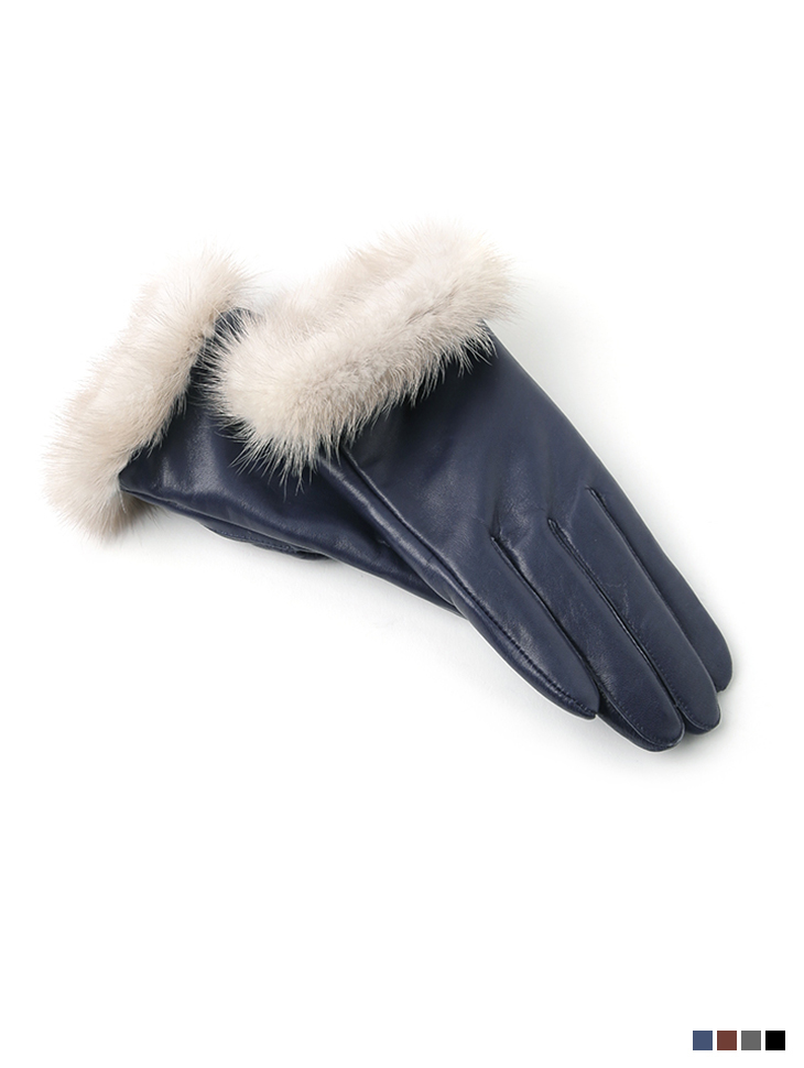 AH-150 real leather mink gloves