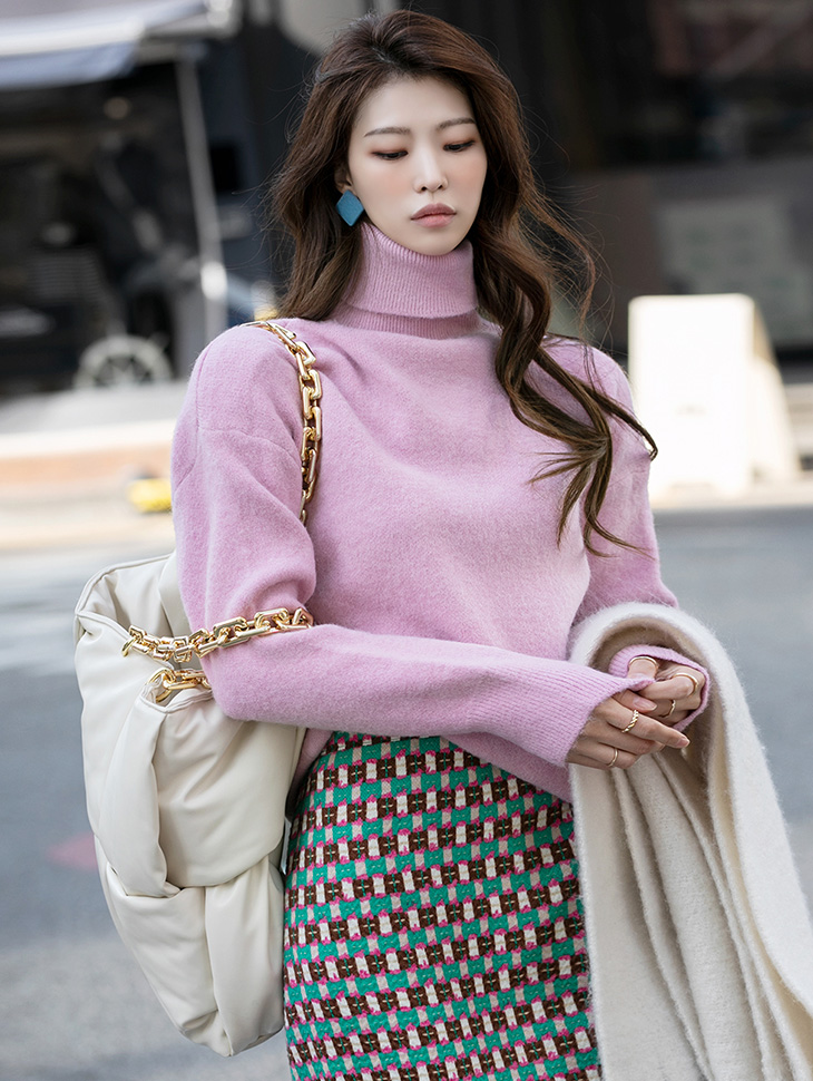 E2326 Pastel Color Point knit turtleneck Top(35th REORDER)