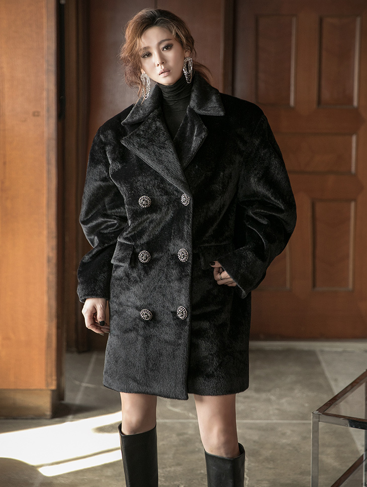 J9100 calf skin Double Button Half coat *quilting lining* (3rd REORDER)