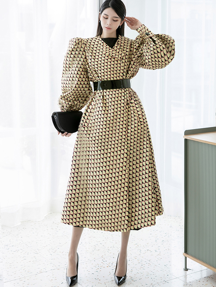 J9035 Puff Sleeve Printing coat(Belt set) *Can be worn as a dress*