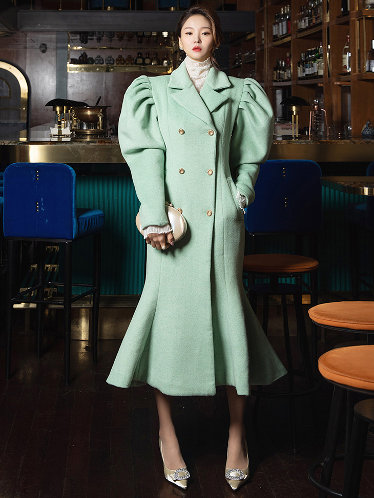 J9092 Gold-Button Puff Sleeve Mermaid coat*Can be worn as a dress*