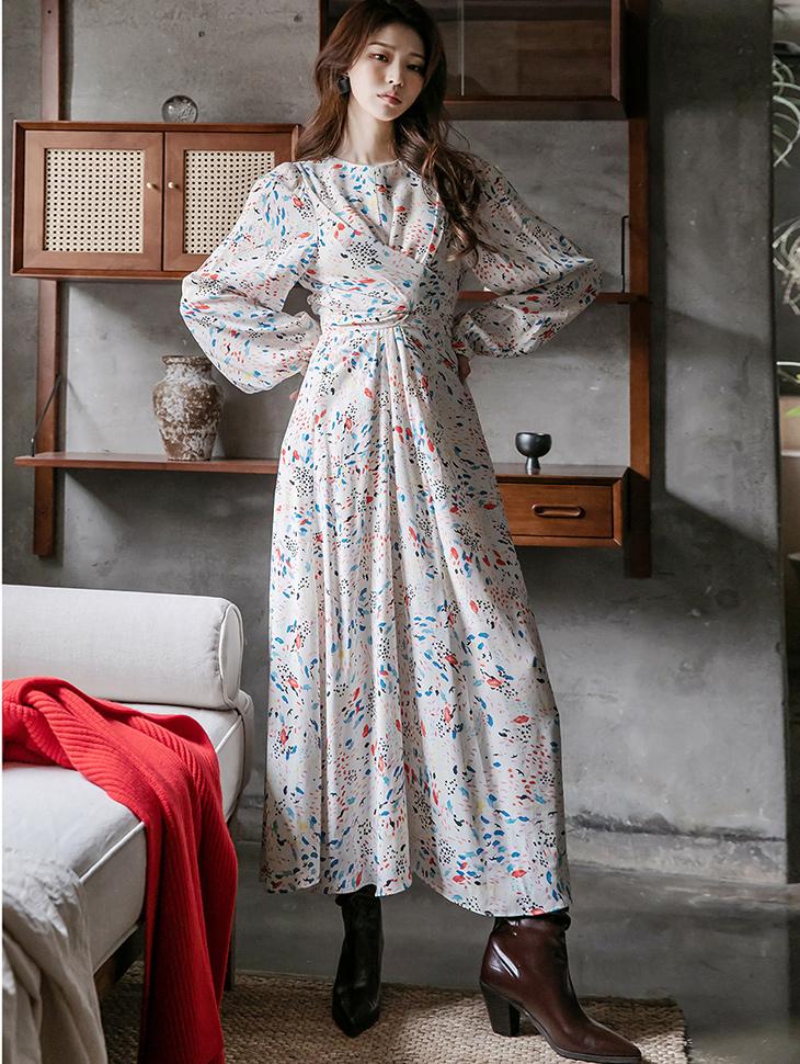 D4176 Pastel Pattern ribbon Long Dress