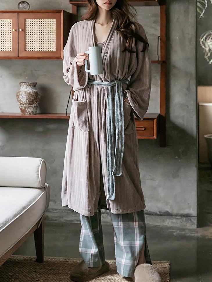 J1166 velvet pajamas robe (Belt set)