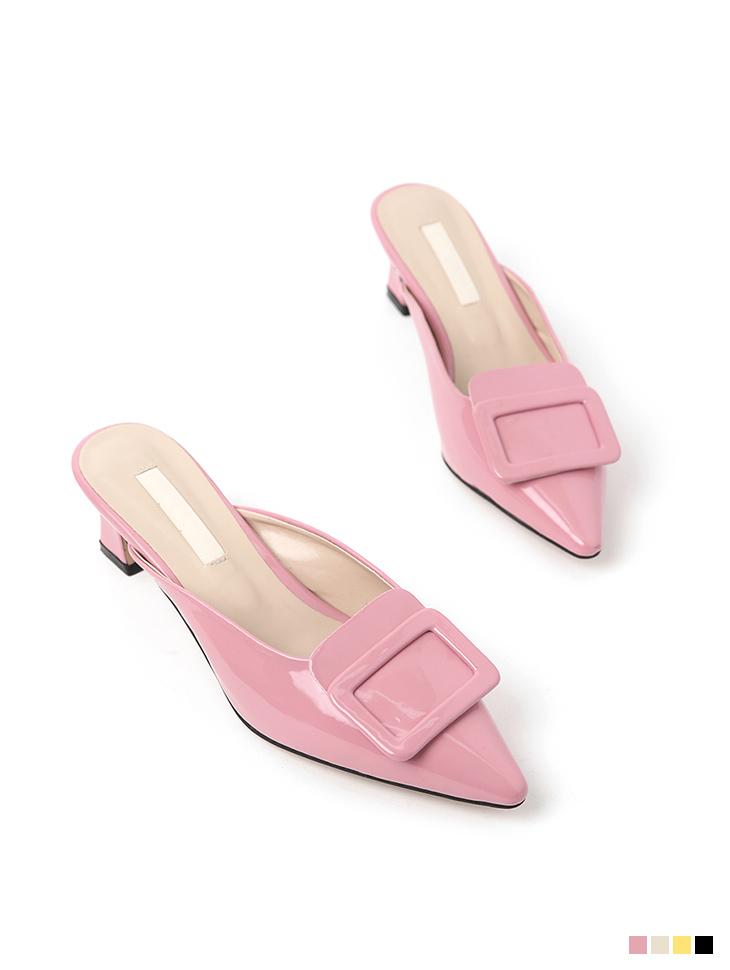 AR-2672 enamel middle heels mule