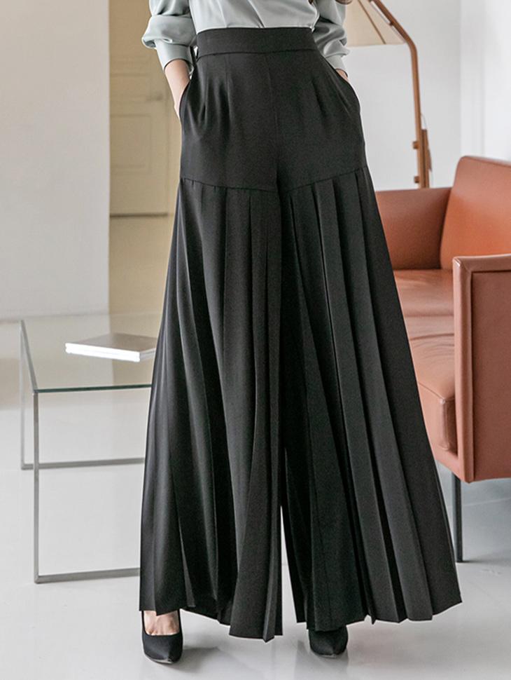 P9052  pleats banding wide pants