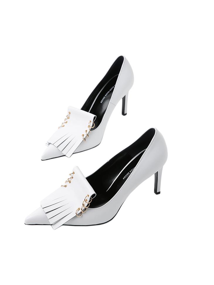 HAR-684 Royal Leather fringe High heels Pumps*HAND MADE*