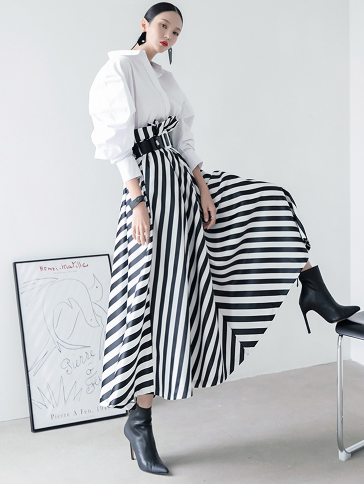 SK9081 stripe flare skirt(Belt set)(7th REORDER)