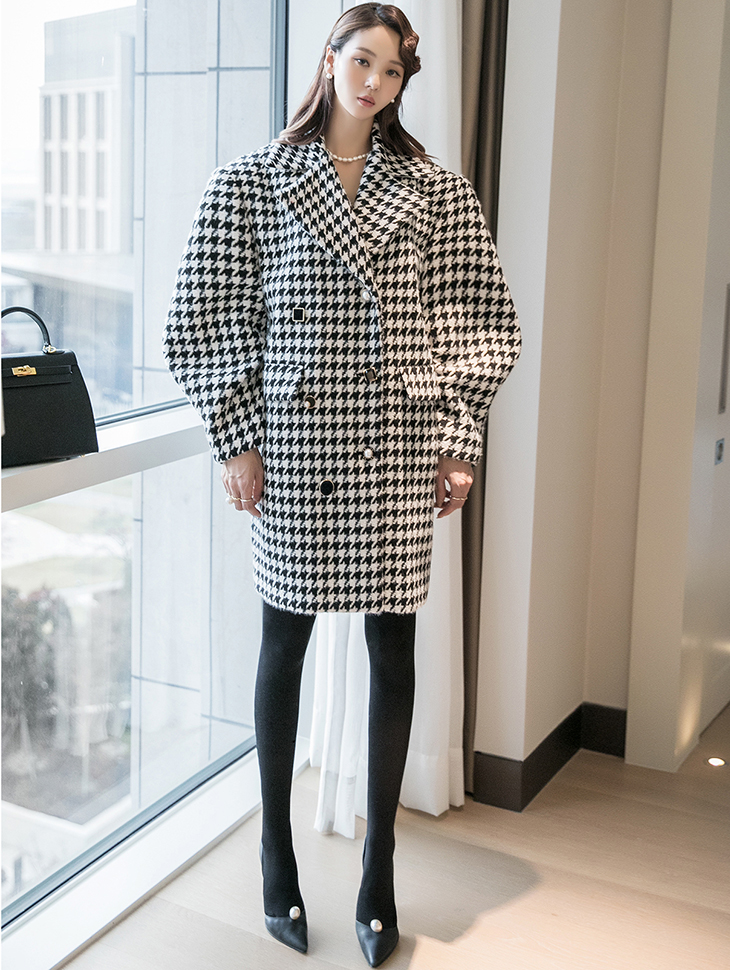 J9088 hound tooth Check jewellery Button Half coat