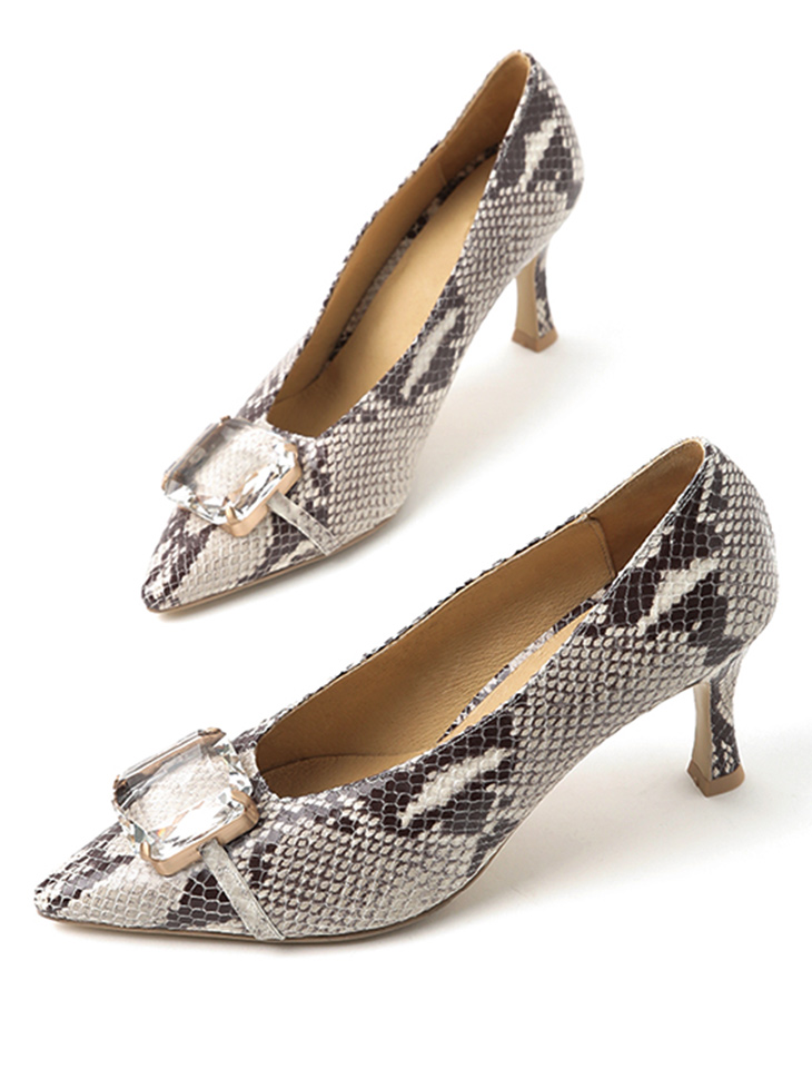 HAR-688 clear cubic Phyton H​igh heels Pumps*HAND MADE*