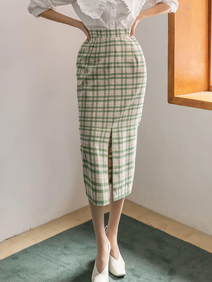 SK2156 Check banding Slim medium skirt(6th REORDER)