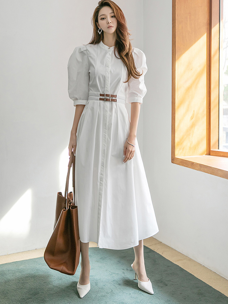 D4188 세닌 Henly neck Puff Two Belt Point medium Dress*WHITE Lsize Production*(43th REORDER)