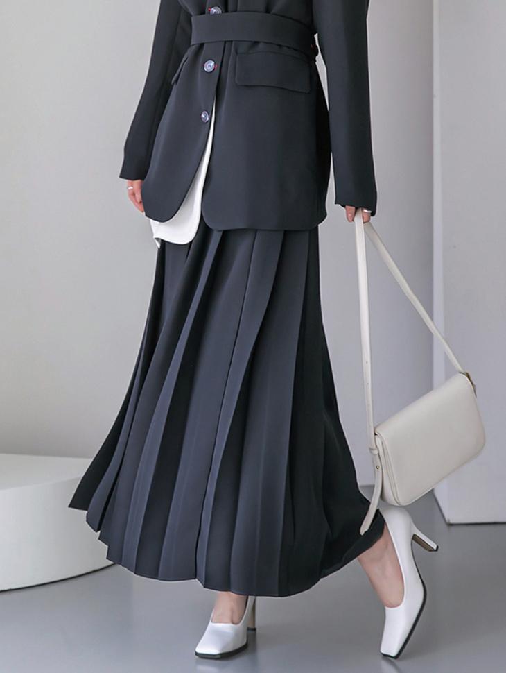 SK2164 dual pleats Long skirt