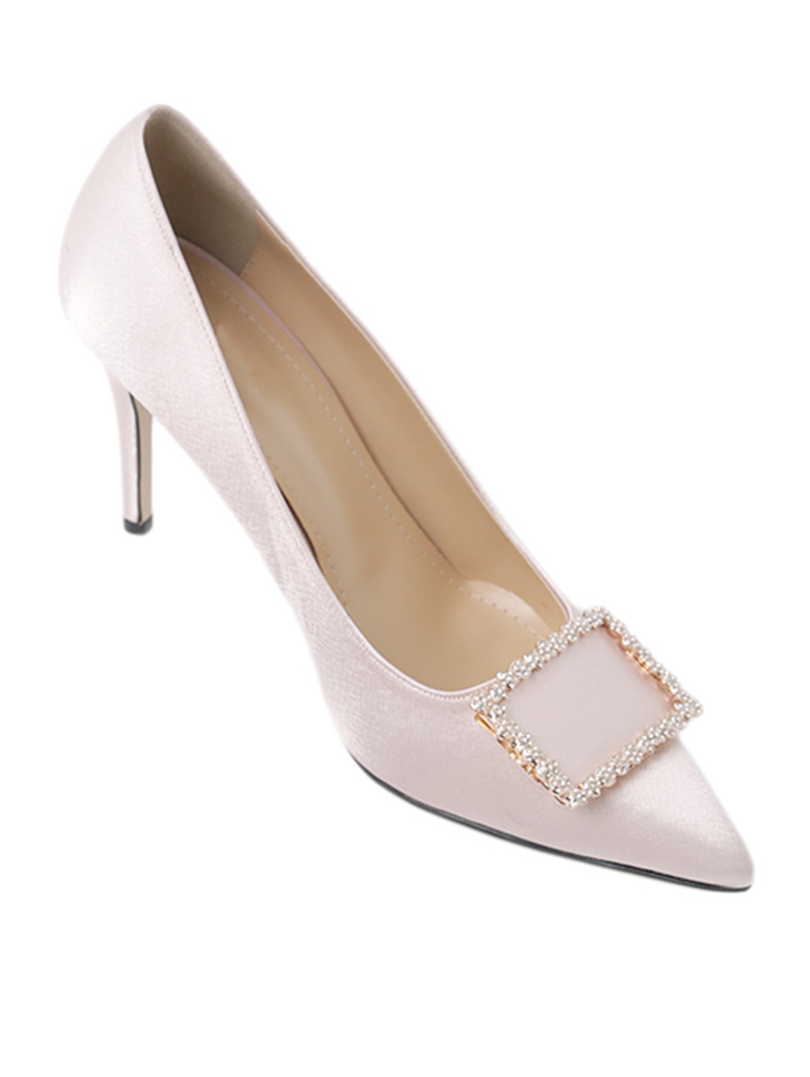 HAR-686 Shine Satin cubic H​igh heels Pumps*HAND MADE*