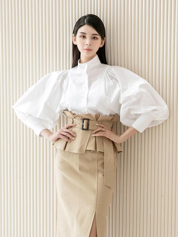 B2576 Shirring Puff blouse(6th REORDER)