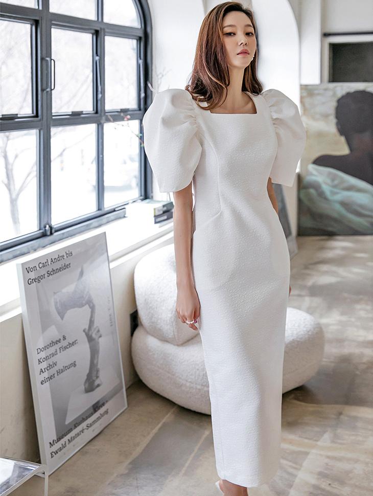 D9227 데이 Jacquard Puff Square neck Long Dress(3rd REORDER)