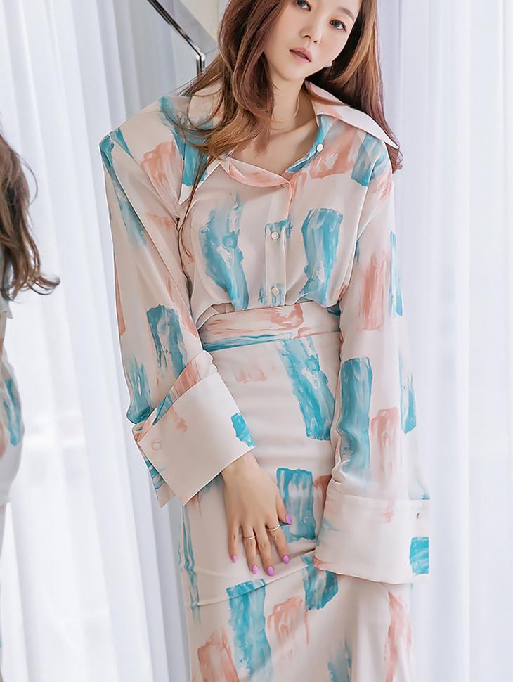 B9076 brush Printing Printing blouse