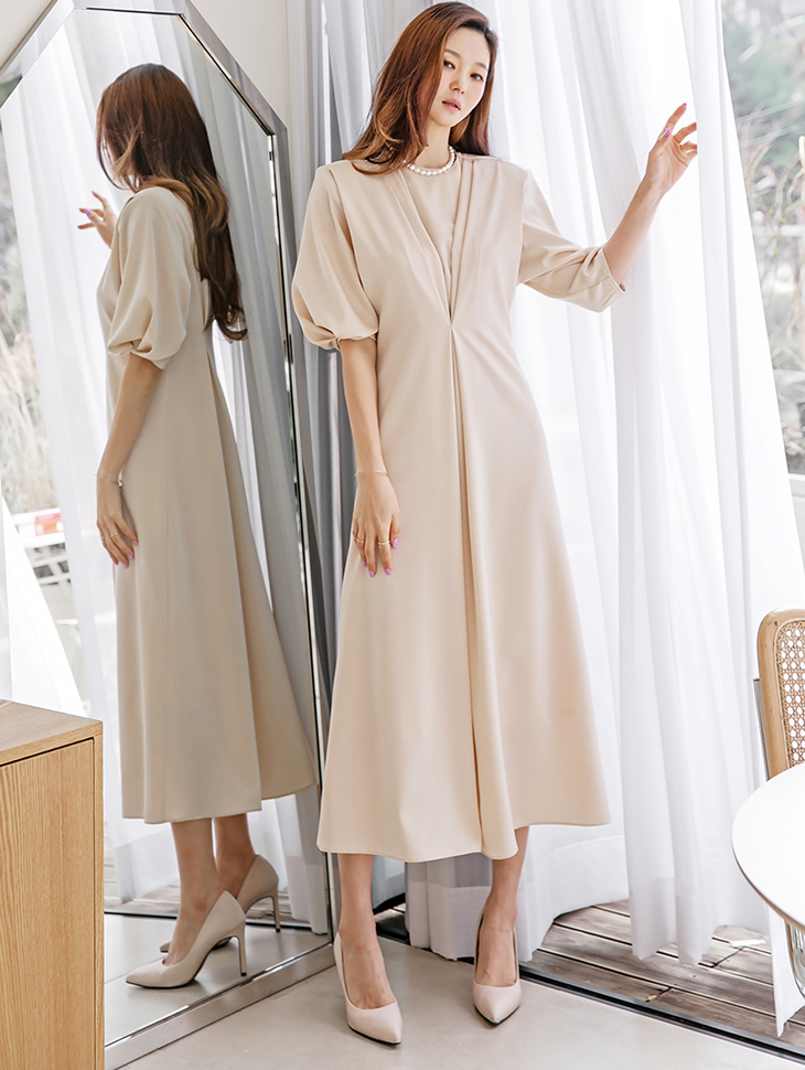 D9219 pin tuck flare Long Dress