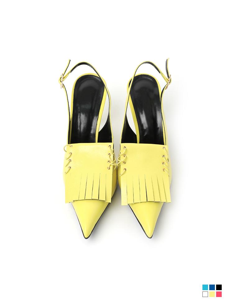 HAR-689 Royal fringe High heels Slingback Pumps*HAND MADE*