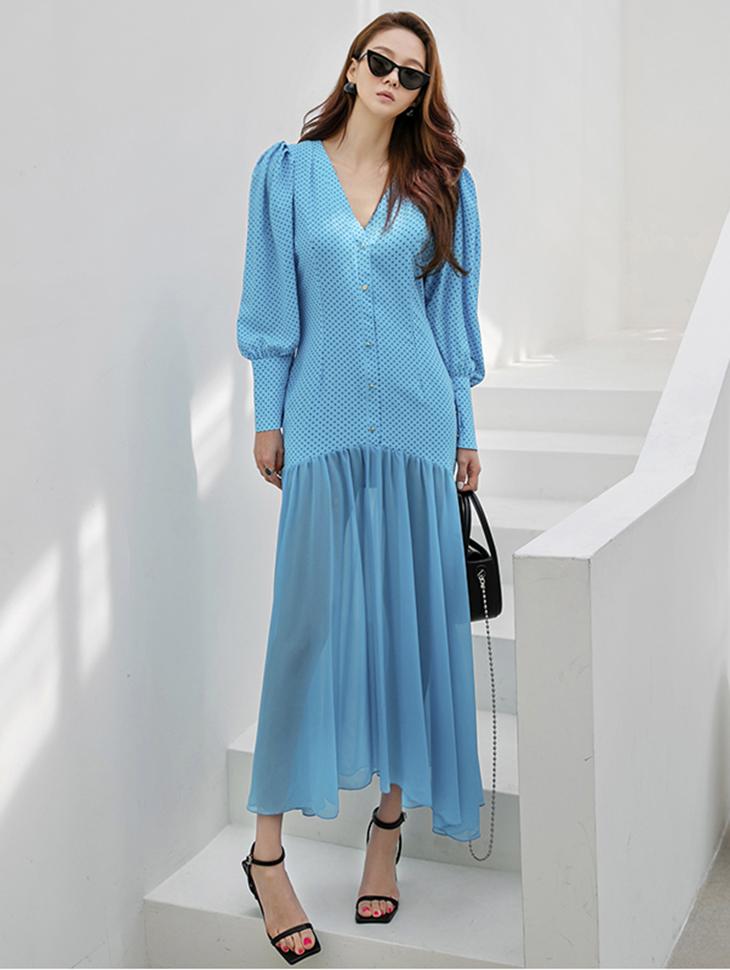 D4205 V-neck dot Frill Long Dress(12nd REORDER)