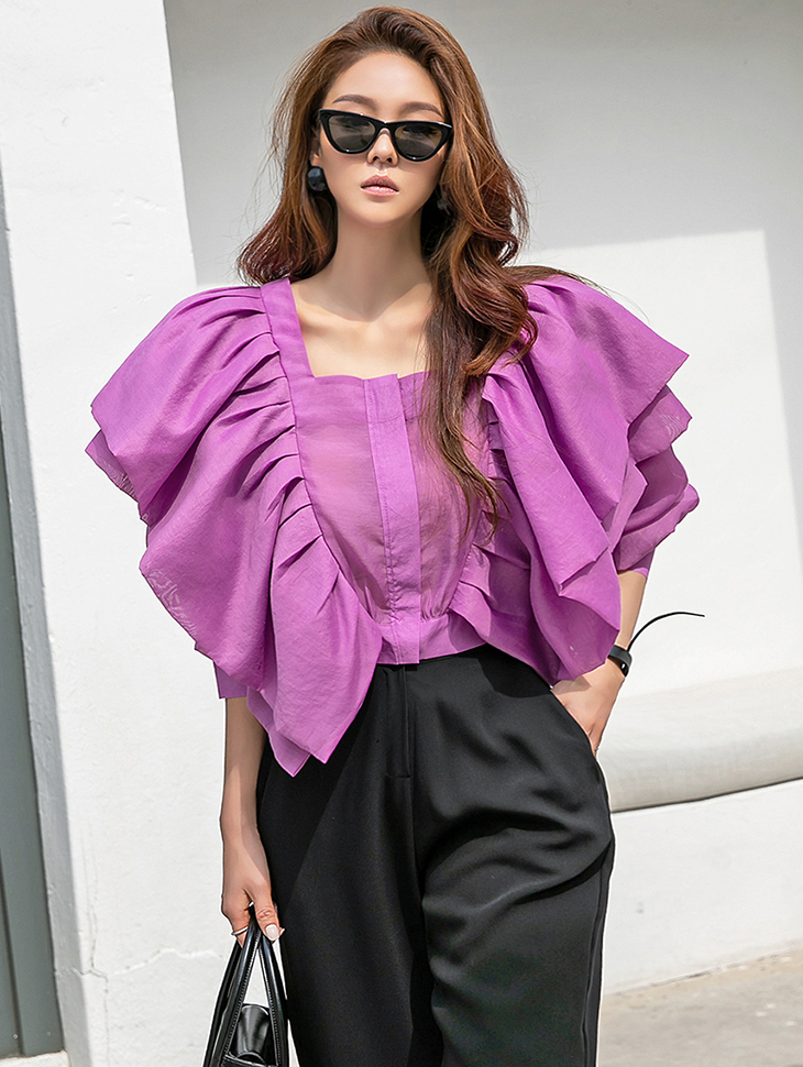 B2654 pin tuck Double Frill blouse(6th REORDER)