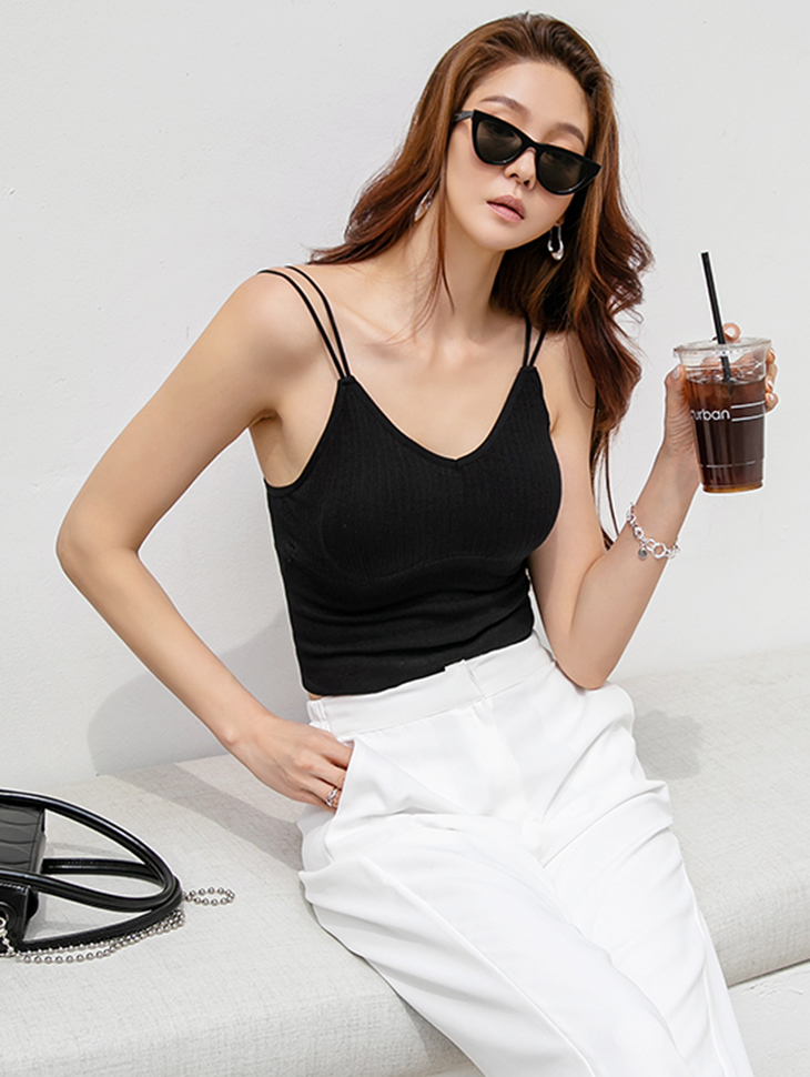 E2426 카로 corrugated V-neck Crop Sleeveless*With Cap*(6th REORDER)