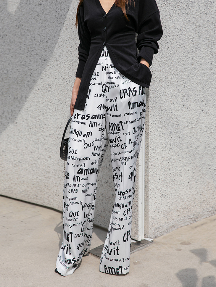 P9070 Lettering Printing High Waist wide pants