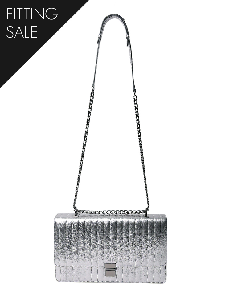 PS2119 Silver real leather Bag*Fitting sale*