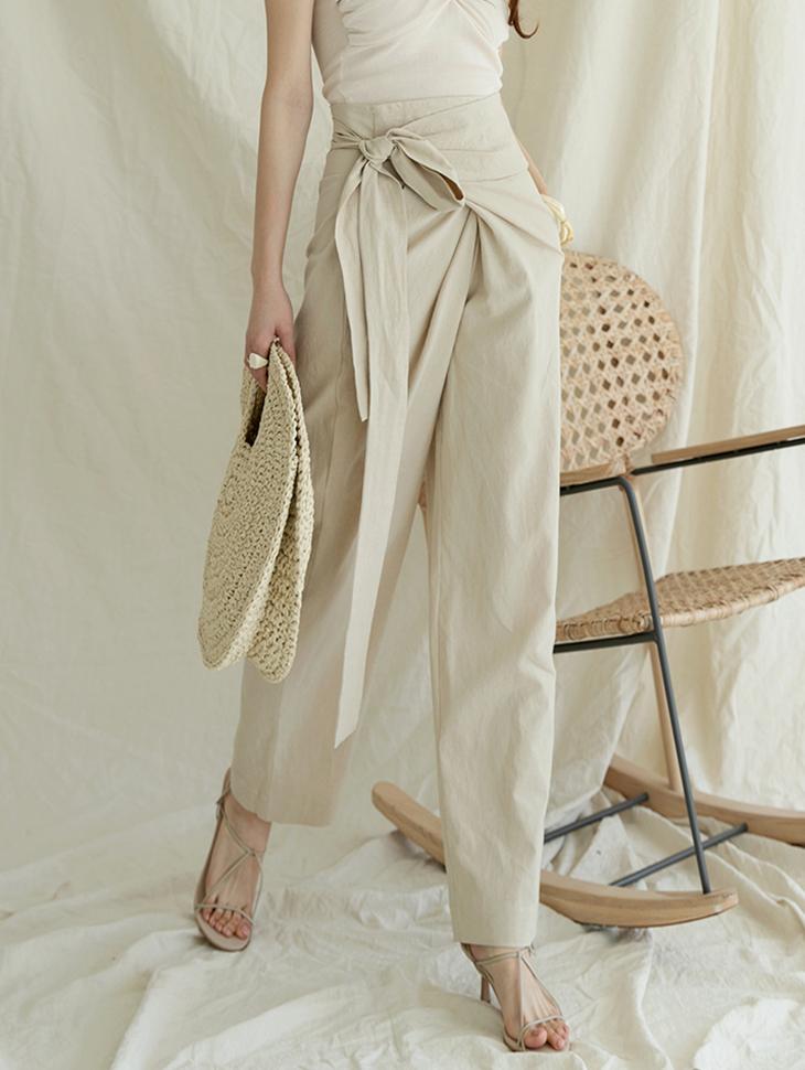 P2250 뮤던 High Waist Linen warp wide pants(27th REORDER)
