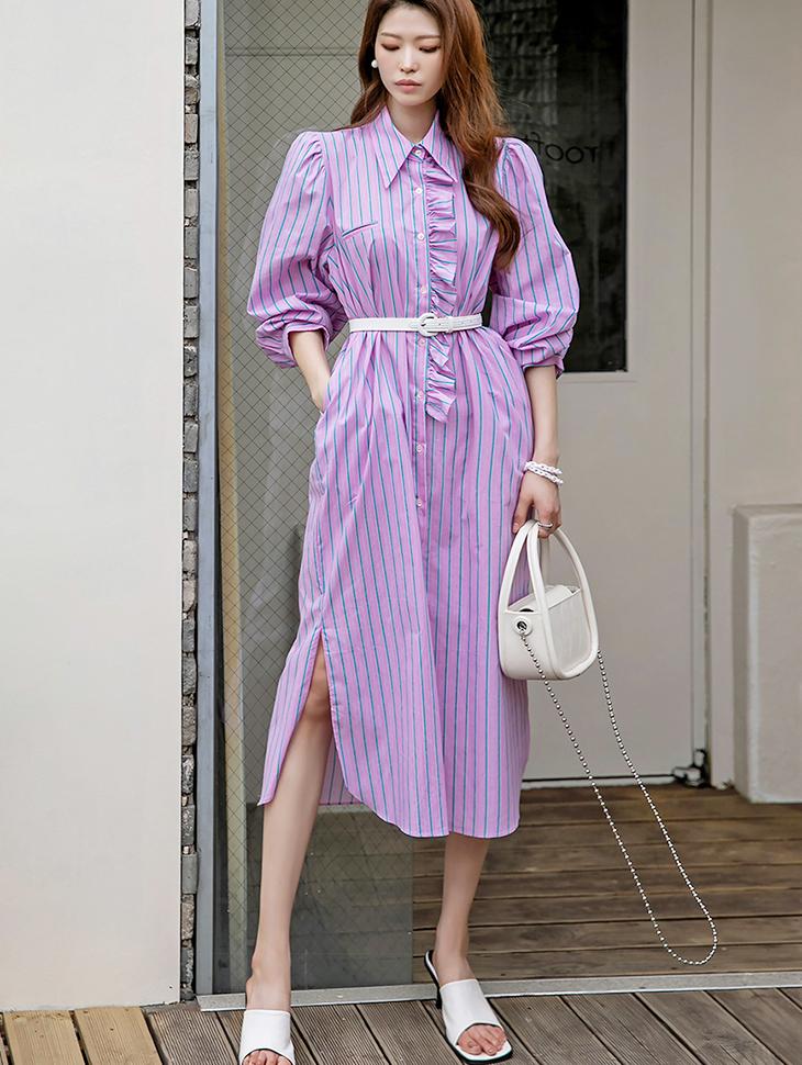 D4213 Puff Frill stripe Shirt medium Dress(ruffle set)(3rd REORDER)