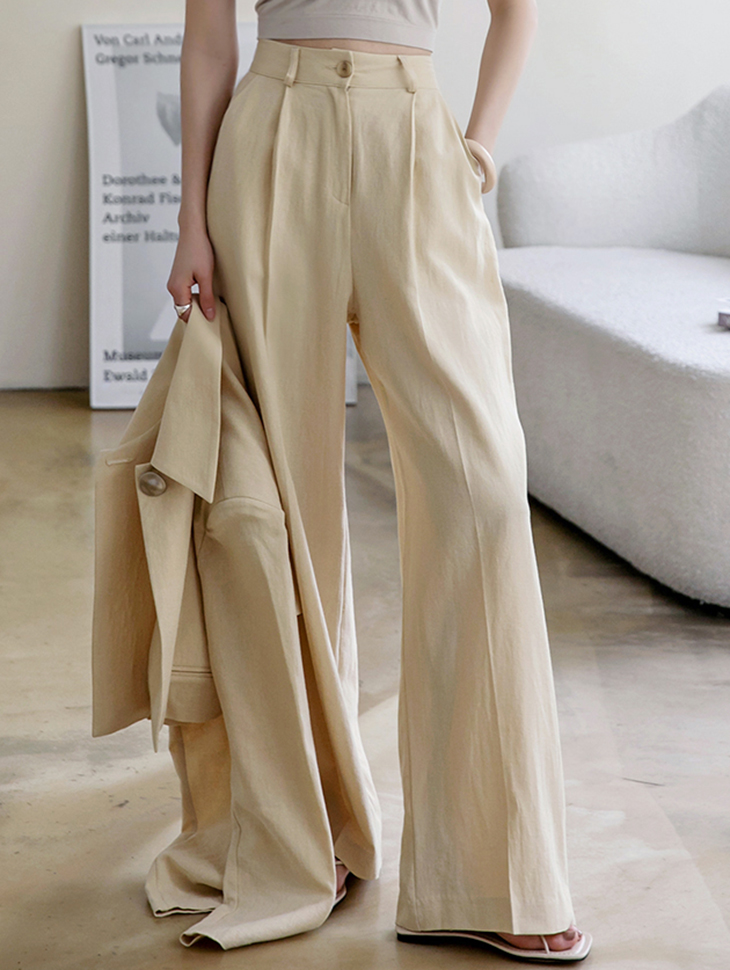 P2403 pin tuck Linen wide pants