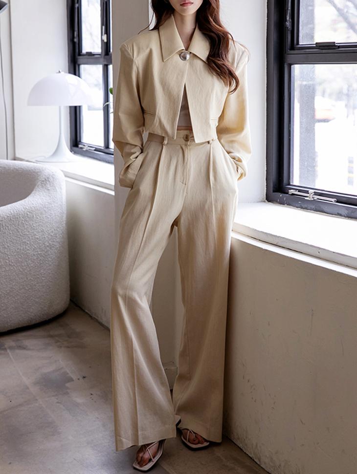 TP1235 One Button Linen Suit set*SET 5%*