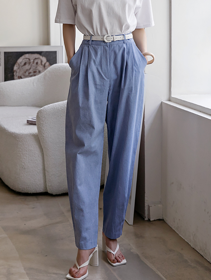P2402  soft pin tuck Cotton Semi baggy pants