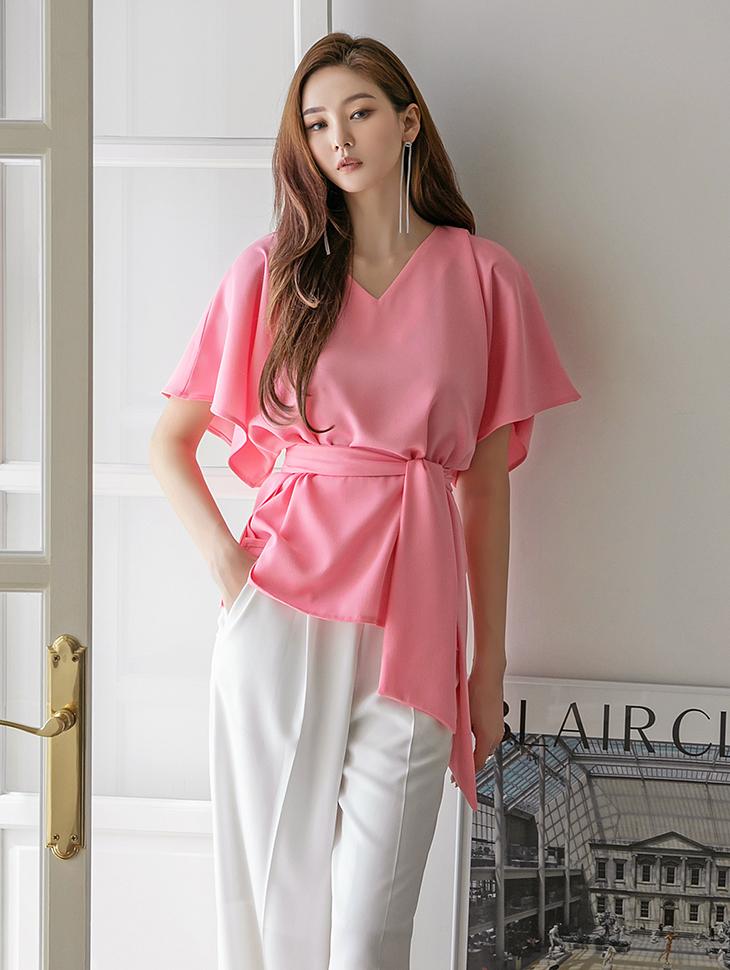 B2656 flare Half Sleeve blouse(Belt set)