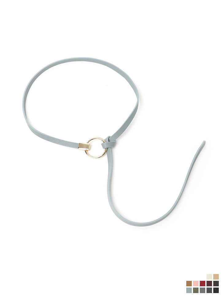 AT-419 circle Gold ring real leather knot Belt