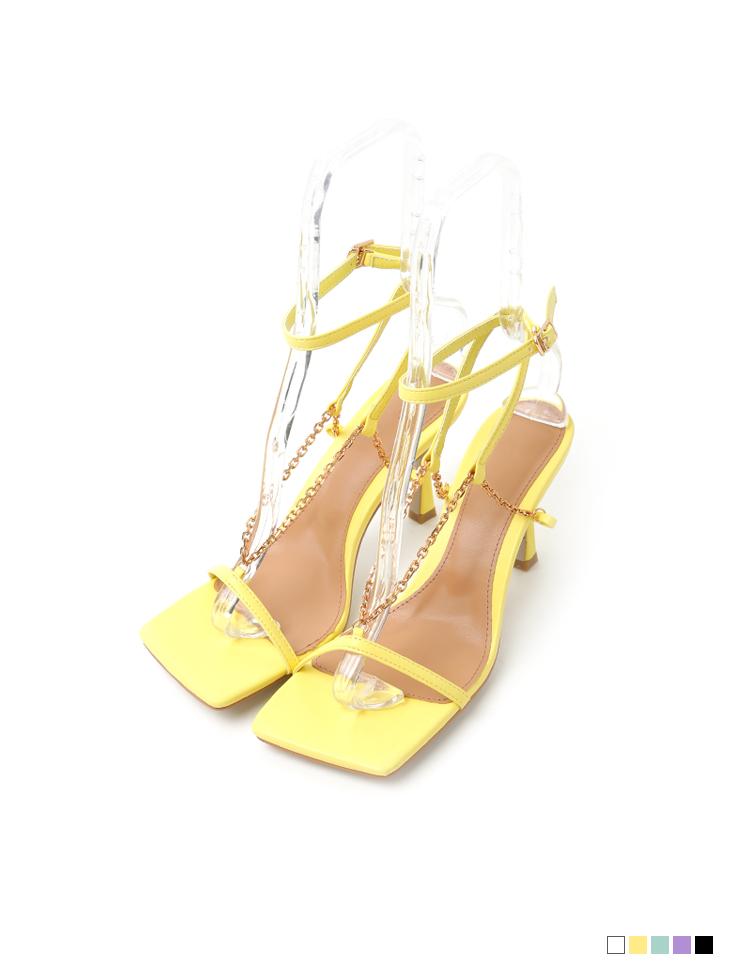 AR-2736 Gold Chain High heels sandals