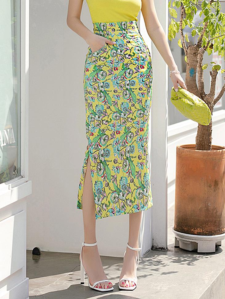 SK9099 레벗 High Waist Flower Slim medium skirt(12nd REORDER)