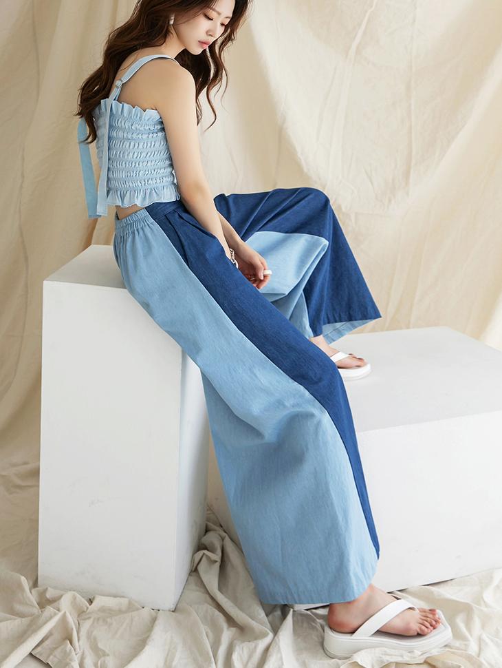 PJ418 High Waist banding Color scheme wide jeans(3rd REORDER)