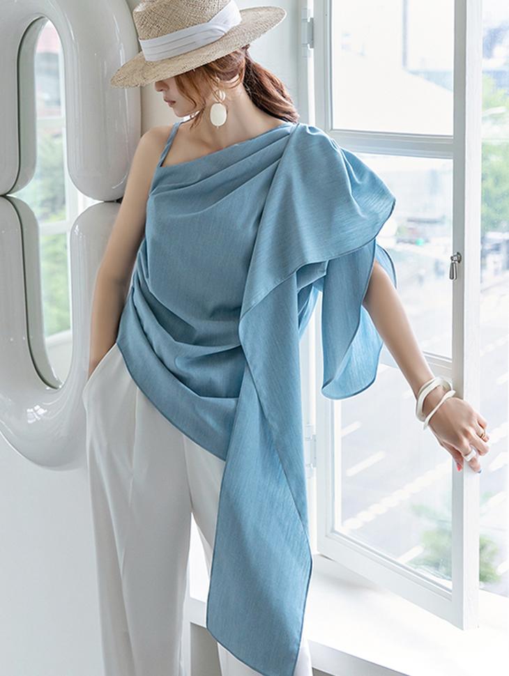 B9084 벤누 One shoulder Shirring Sleeveless blouse(3rd REORDER)