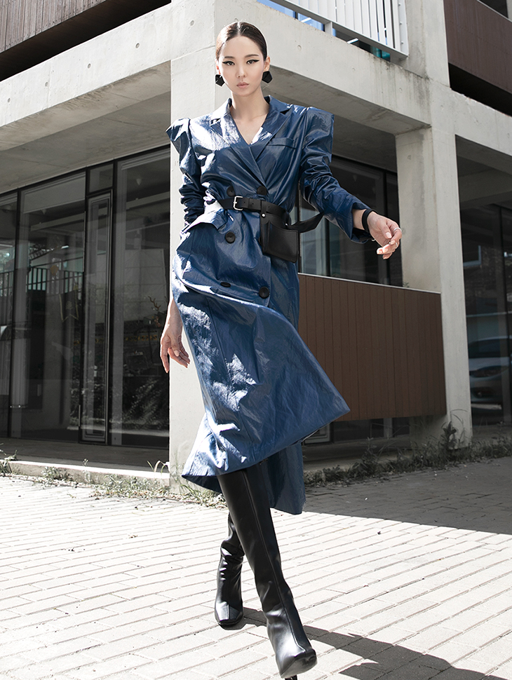 J9068 Double Button Leather coat*Can be worn as a dress*(7th REORDER)