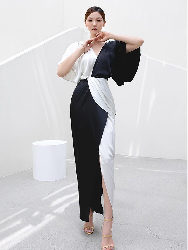 D9254 V Color scheme warp Maxi Dress