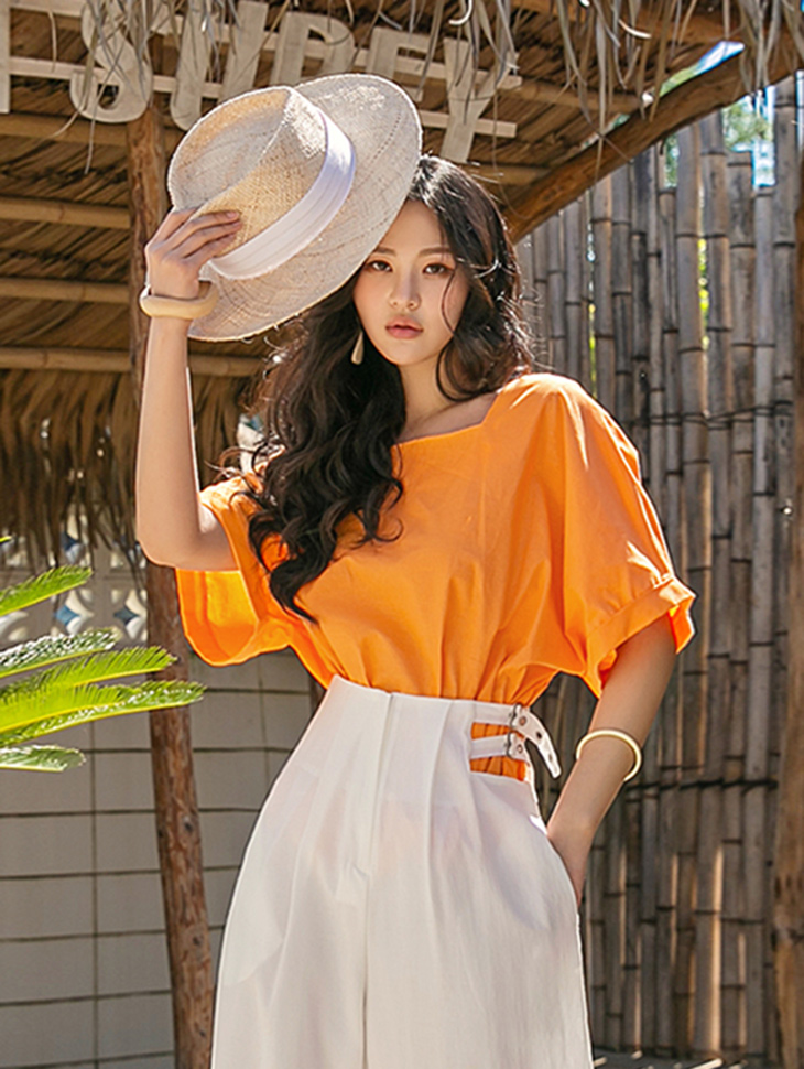 B2668 폴 Puff Square neck wide blouse(18th REORDER)