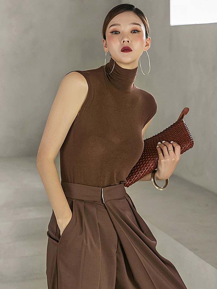 E2476 빈 corrugated Cooling turtleneck Sleeveless(15th REORDER)