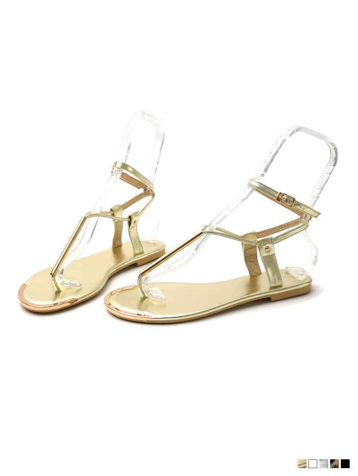 AR-2791 Gold flip flop sandals